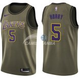 Camisetas NBA Salute To Servicio Los Angeles Lakers Robert Horry Nike Ejercito Verde 2018